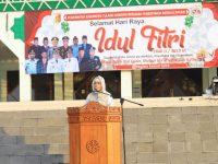 Di Islamic Center Menggala Masjid Baiturrahman, Bunda Winarti Ucapkan Selamat Idul Fitri Untuk Warga Tulang Bawang.
